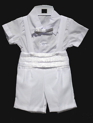 White Boys Toddler Infant Christening Baptism Outfit Size: Small to 4T