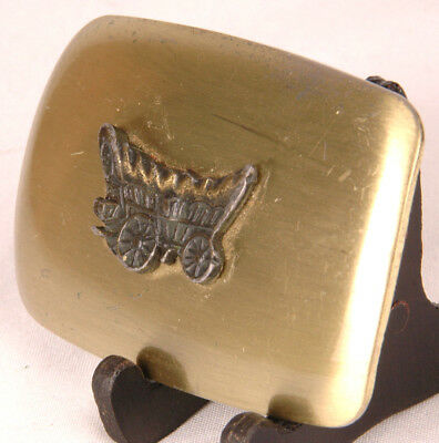 "Covered Wagon Belt Buckle-Metal-Chambers Belt Co. USA-Vtg Western-Fits 1.5"" Belt 2"