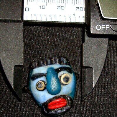 Ancient Phoenician Blue Face Mosaic Glass Bead Beard Man Pendant Rare 732 10