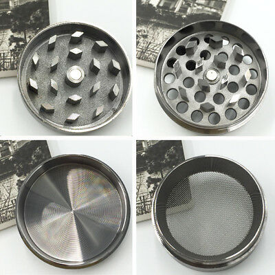 4 Piece Magnetic 1.5 Inch grey Tobacco Herb Grinder Spice Aluminum With Scoop