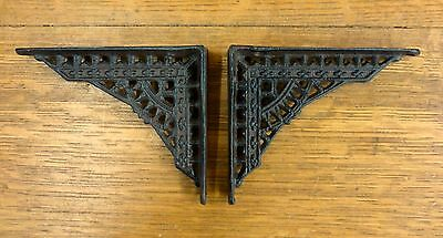 "6 SMALL BROWN ANTIQUE-STYLE 5/"" SHELF BRACKETS CAST IRON garden rustic EASTLAKE"