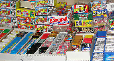 HUGE Lot of 100 Unopened Old Vintage Baseball Cards in Wax Cello Rack Packs