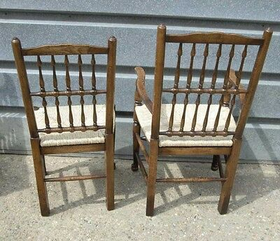 Pair Oak Spindleback Kitchen Chairs Country Farmhouse 2