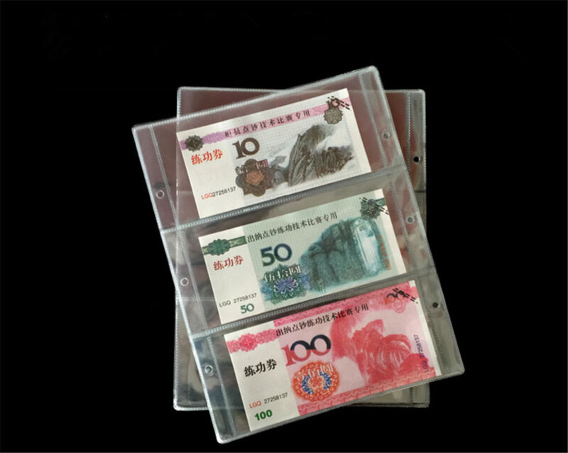 10X Paper Money Banknote Holders Album 3 Pockets Pages Sleeves Storage Note OZ 2