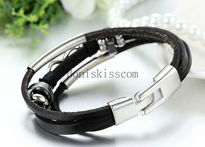 Love Infinity Symbol Charm Men's Women's Leather Bracelet Cuff Bangle Wristband 3