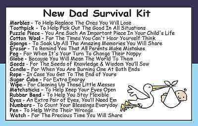 DAD DADDY TO BE SURVIVAL KIT IN A CAN New Parent//Baby Shower Gift /& Card