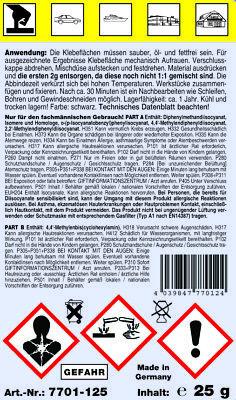 25 g STC 2K PU Kunststoffkleber 1 Minute Industriekleber inkl. 2 Mischspitzen