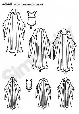 SIMPLICITY SEWING PATTERN 4940 Misses Medieval Mystical Lotr Elf Costumes  20-26