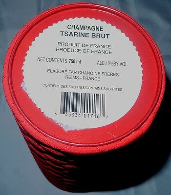 Tsarine Champagne Cuvée Premium Brut Empty Single Red Cylinder Box 750ml 4