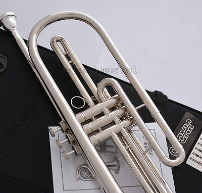 Professional Silver nickel Bb Bass Trumpet 3 Piston Vavles JINBAO Horn With Case 6