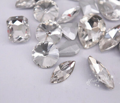 Mixed Shapes Sizes Crystal Clear Rhinestone Settings Sew On Crystals Glass 50ps