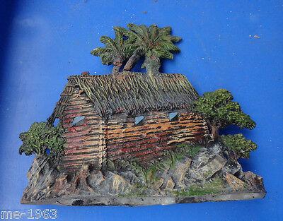 original Elastolin Blockhaus mit Palmen Masse  wohl Vorkrieg 3