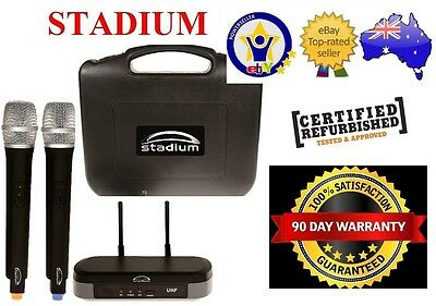Stadium Twin UHF 60M Wireless MIC Microphone Pack transmitter Carry Case WIMIC2B 2