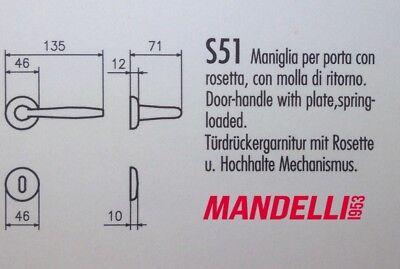 MANIGLIA PER PORTA MANDELLI serie S50 art.S51 ORO LUCIDO per porte interne