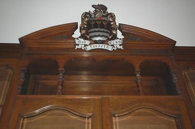 Monumental Regal Solid Oak Library Bookcase With Beautiful Carved Crest 12
