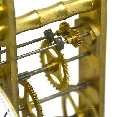 Fusee Drive Scissors Pendulum Brass Skeleton Clock - It has 2 Swinging Pendulums 7