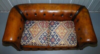 1 Of 2 Restored Victorian Gentleman's Club Chesterfield Leather Sofas Kilim Seat 4