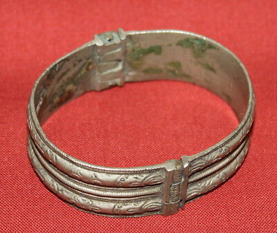 Antique Greek Handcrafted Engraved Silver Folk Hinged Cuff Bracelet 8