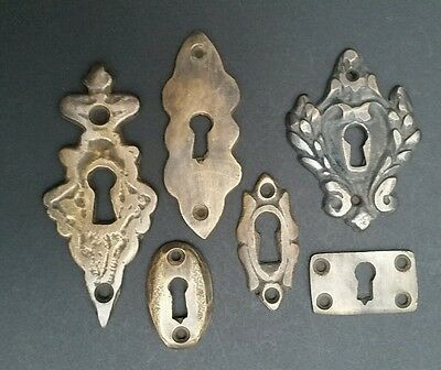 """6 various antique style escutcheon key hole covers ornate 1-3"""" solid brass #E 7"""
