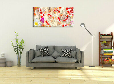 Wall Art Home Decor HD print oil painting on Canvas Feng Shui Fish Koi Painting 5