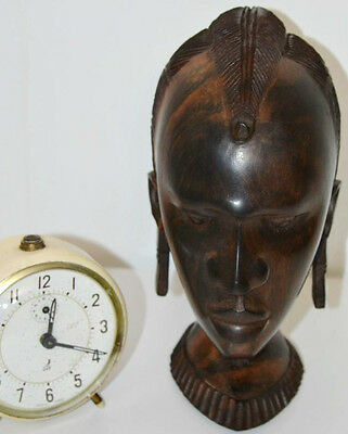 A Vintage African Carved Wood Sculpture Head of a woman - FREE Shipping [PL3306]