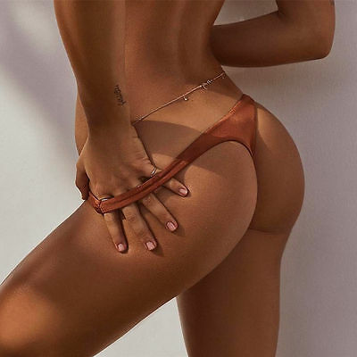 Sexy Women Bikini Thong Bottom Brazilian V Cheeky Ruched Semi Swimwear Beachwear