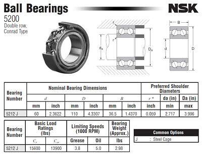 5212PP  Sealed 60x110x36.5 Angular Contact Bearing