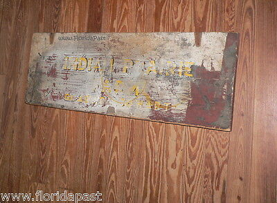 Antique INDIAN PRAIRIE FARM GLADYS COWART Trade Sign Lid Marion County Florida 5