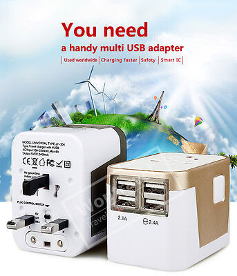 Universal Travel Adapter  USB Wall AC Power 240v 110v for AU EUROPE USA UK 4 USB 7