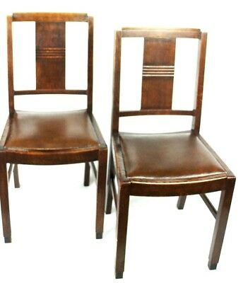 Art Deco pair of Oak Wood Dining Chairs | Patina - PRICE IS FOR PAIR [PL2033B] 10