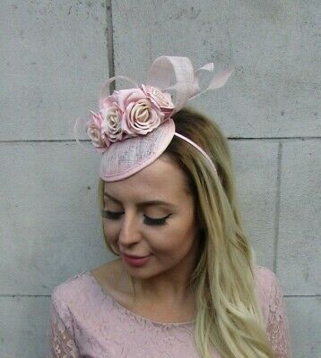 Light Nude Blush Pink Flower Feather Hat Hair Fascinator Races Wedding Rose 8097 3