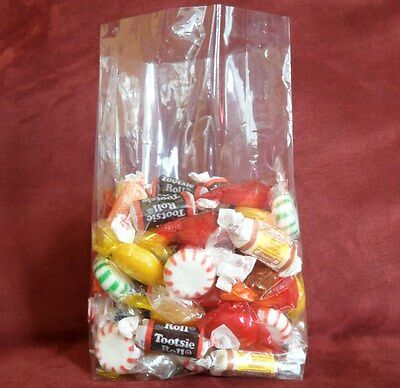 """50 Qty 4/"""" x 2/"""" x 9/"""" Cello Crystal Clear Gusseted Cellophane Bags Open End"""