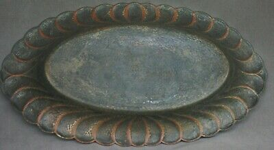 Vintage Hammercraft Silver Plate on Copper Oval Scalloped Edge Tray/Dish 2