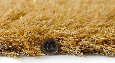 Dazzle Ochre Mustard Yellow Thick Long Pile Glitter Gold Sparkle Shaggy Rug 3