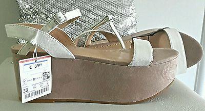 9f7e992bd9c9 2 sur 7 TRENDY sandales bicolores compensées plateforme beige ficelle blanc  ZARA T 38