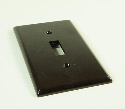 Vintage Leviton Brown Bakelite Smooth Single Switch Plate NOS New 3