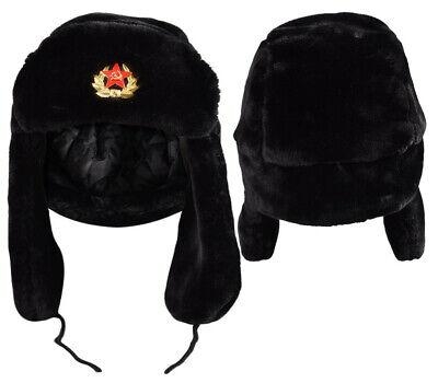 Russian Trapper Hat black With Soviet Badge Faux Fur Ushanka Cossack Flap Cap AU 7