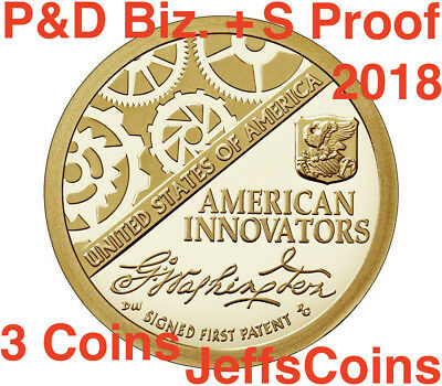 2018 P D American Innovation Golden Dollars 2 Best Grade $1 Coins PD US Mint NEW 12