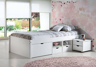 bett kinderbett funktionsbett schubladen wei massivholz 90x200 neu eur 247 18 picclick de. Black Bedroom Furniture Sets. Home Design Ideas