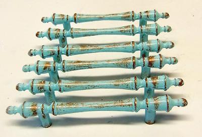 "6 Vintage Drawer Pulls Aqua Blue Robins Egg Coppery Distress 3"" Centers 2 • CAD $25.14"