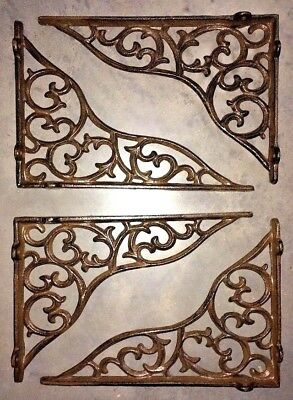 SET OF 4 LARGE VICTORIAN VINE SHELF BRACKET BRACE Rustic Antique Brown Cast Iron 7