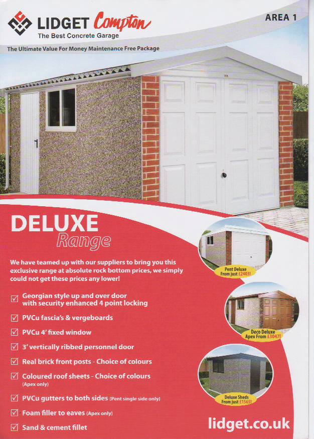 "Pent Mansard Deluxe, Concrete Sectional Garage,pent Roof 14Ft3"" X 8Ft 6"""