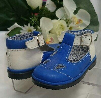 BABY Jungen Kinder Schuhe SANDALEN MADE IN ITALY Gr 23 Royalblau Weiß LEDER
