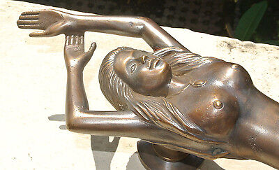 """large MERMAID solid brass door PULL old style heavy house PULL handle 15"""" aged B 3"""