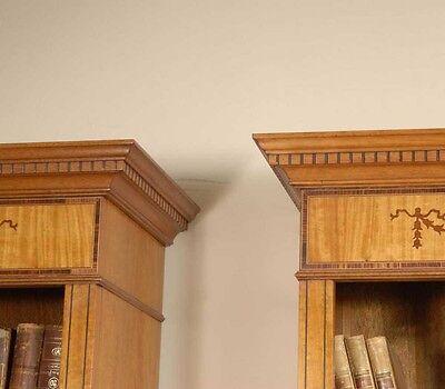 7 Ft English Regency Open Sheraton Bookcases Satinwood 7