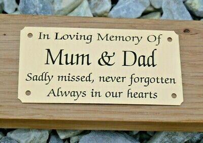 """SOLID BRASS MEMORIAL BENCH PLAQUE GRAVE SIGN PERSONALISED ENGRAVED 4""""X2"""" & 5""""x2"""" 2"""
