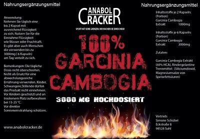 250 KAPSELN - Garcinia Cambogia 3000mg mit 60% HCA / Abnehmen Fatburner Diät