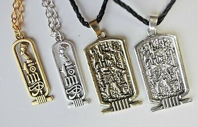 Cartouche Ancient Egyptian Pendant Necklace Ankh Egypt Anubis God Wicca Jewelry 2