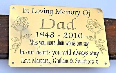 """Solid Brass Memorial Bench Plaque Grave Marker Sign 6""""X4"""" Personalised Engraved 3"""