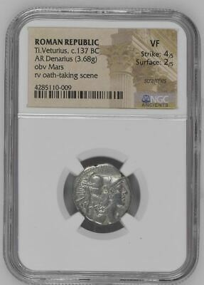 "NGC Roman Republic Silver Denarius, T VETURIUS, Oath Taking, 137 BC, ""Very Fine"" 2"